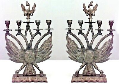 Pair of Italian Renaissance Style Judaica Eagle Head Design Brass Candelabra