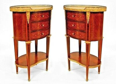 Pair of French Louis XVI Style (19th Cent.) Oval Form Small Commodes (Chevets)