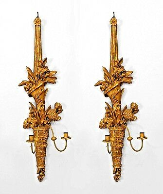 A pair of Italian Neo-classic style (19th Cent) gilt wood 2 arm wall sconces