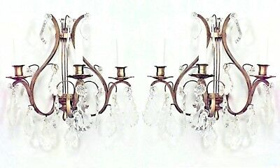 Pairs of French Louis XV Style (20th Cent.) Bronze and Crystal Lyre Wall Sconces