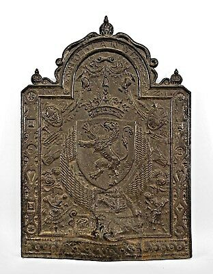 French Victorian Monumental Black Iron Plaque (Fireplace Back)
