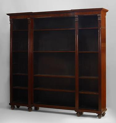 English William IV (circa 1840) mahogany 3 section bookcase with fluted and carv