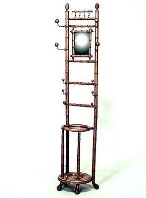 American Victorian Faux Bamboo Maple Painted Hatrack with Round Umbrella Stand