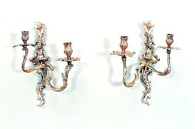 Pair of French Louis XV Style Bronze Dore 2 Arm Wall Sconces