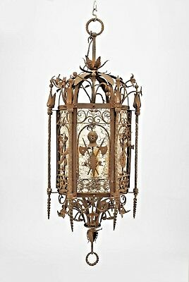 Italian Renaissance Style Wrought Iron Hanging Lantern with Military Motif