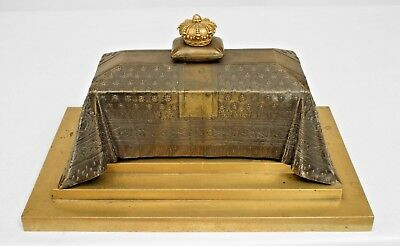 French Empire (19th Cent) bronze inkwell in the form of Napoleon's casket covere