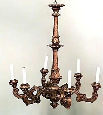 French Louis XV Style (20th Cent.) Gold Painted Wood 6 Scroll Arm Chandelier