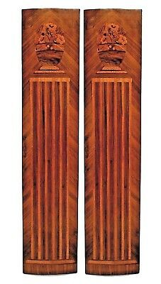 Pair of French Art Deco kingwood veneered pilaster panels with a slight convex s