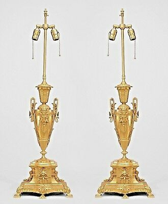 Pair of French Victorian Gilt Bronze Table Lamps with Urn Design with Handles