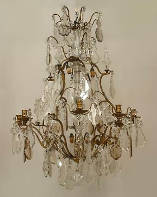 French Louis XV style bronze and crystal chandelier with various style crystal d