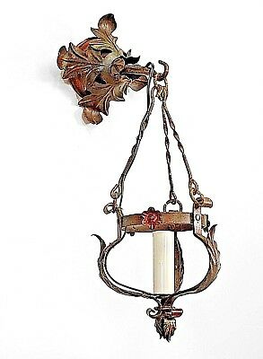 Pair of Italian Renaissance Style (20th Cent) Wrought Iron Lanterns/Sconces