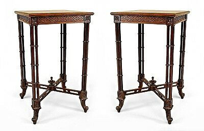 Pair of English Chinese Chippendale Style (20th Cent) Mahogany Square End Tables