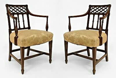 Pair of English Sheraton style (19th Cent) mahogany arm chairs with lattice desi