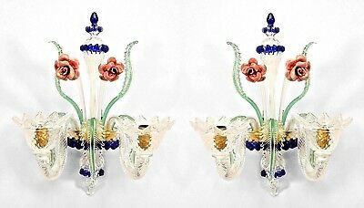 Pair of Italian Venetian style Murano (modern) glass wall sconces with 2 clear s