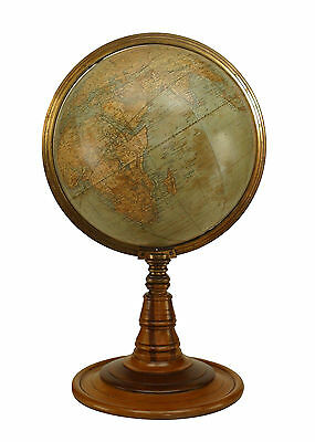 American Victorian (circa 1880) globe of the world with a brass meridian and rai