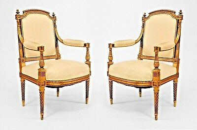 Pair of French Louis XVI Style (19th Cent) Gilt Carved Open Arm Chairs