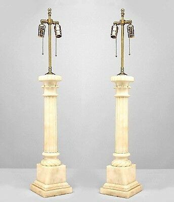 Pair of Italian Neo-classic Style (2nd qtr 20th Cent) Alabaster Table Lamps with