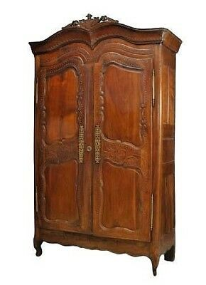 French Provincial (18th Cent) Walnut Carved Armoire with Double Scroll Top