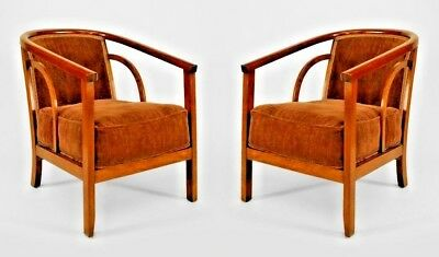 Pair of American Mid-Century Dark Stained Beechwood Diminutive Arm Chairs
