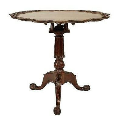 English Chippendale Style (20th Cent) Mahogany Tilt Top End Table