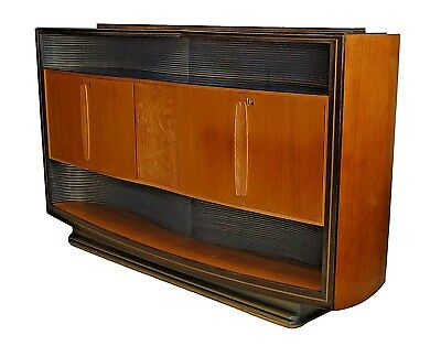 Italian 1950s Walnut & Maple Sideboard with an Open Bottom Shelf