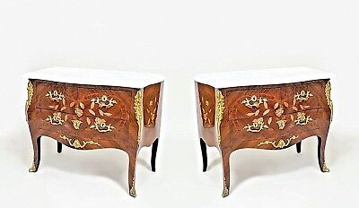 Pair of French Louis XV Style (20th Cent.) Fruitwood and Floral Inlaid Commodes