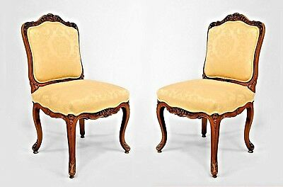 Pair of French Louis XV Style (19th Cent) Walnut Carved Side Chairs