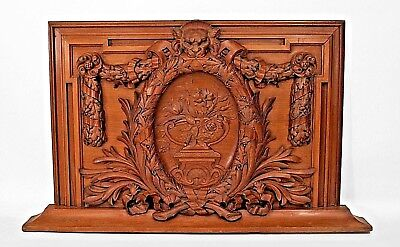 English Georgian Style Walnut Carved Wall Plaques