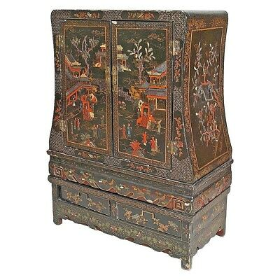 Asian Chinese Style (19th Cent.) Black Lacquered & Chinoiserie 2 Door Cabinet
