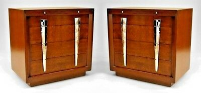Pair of American Mid-Century dark stained mahogany chest