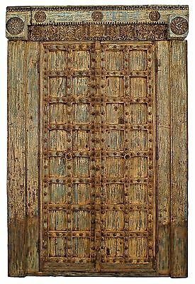 Asian (probably Indian) blue & white distressed painted and carved pair of doors