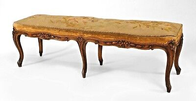 French Louis XV (18th Cent) narrow walnut carved bench with a tapestry upholster