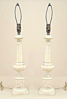 Pair of Italian Neo-Classic Style (20th Cent.) White Alabaster Lamps