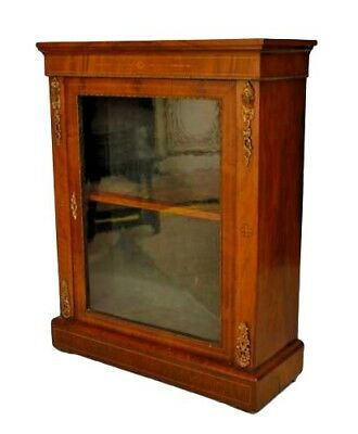 French Victorian Walnut Display Cabinet with a Large Single Front Glass Door