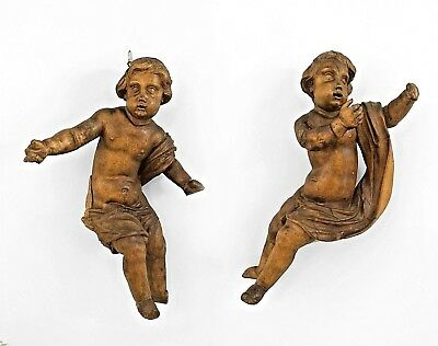 Pair of Italian Rococo (19th Cent) Fruitwood Carved Putti Figures