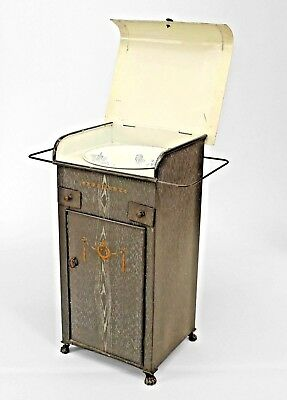 French Provincial Grey Faux Wood Painted Tole Washstand