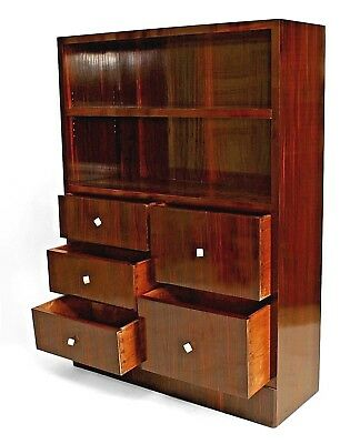 French Art Deco calamander wood bookcase cabinet with open book shelves above a