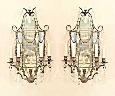 Pair of French Victorian (19th/20th Cent) Iron 4 Light Sconce with Crystal Drops
