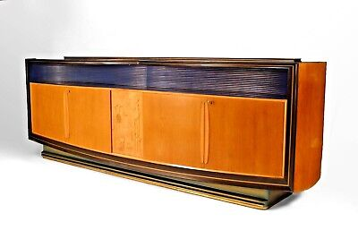Italian 1950s Walnut & Maple Sideboard with 2 Pair of Doors