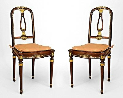Pair of French Louis XVI Style (19/20th Cent) Mahogany Side Chairs