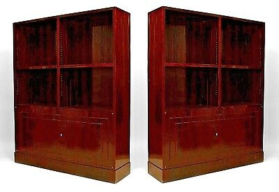 Pair of French Art Deco calamander wood bookcase cabinets with 2 open book shelv