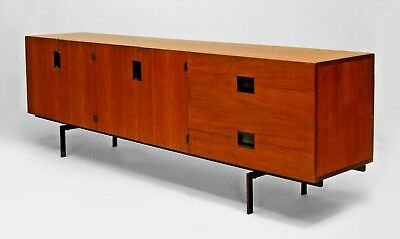 Dutch Post-War Design teak sideboard supported on black metal legs with 2 pair o