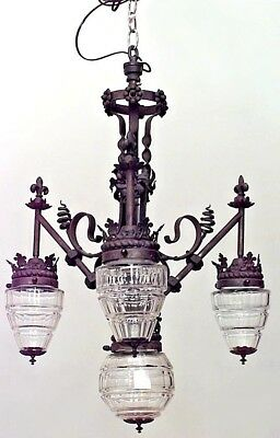 French Provincial style (19/20th Cent) wrought iron 3 arm chandelier