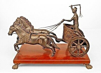 French (19th Cent)Bronze Figure of a Classical Roman Soldier Riding in a Chariot