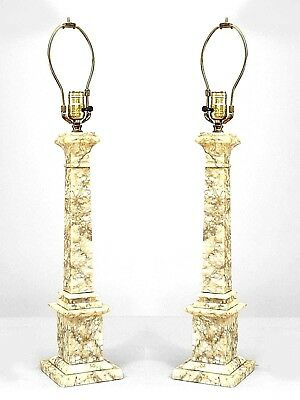 Pair of Italian Neo-classic style veined white and gray marble table lamps
