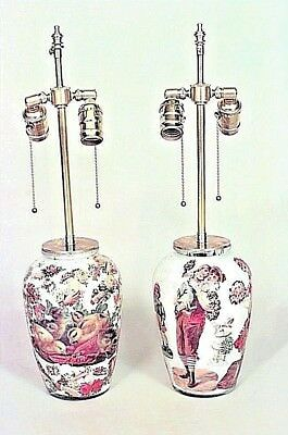 Pair of English Victorian Style (20th Cent) Lamps with Decoupage Decoration
