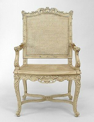 Set of 10 French Regence style (19th Cent) White Painted and Carved Open Chairs