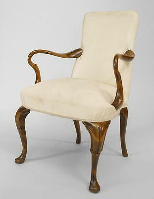 English Queen Anne style (19/20th Cent) walnut open arm chair with white uphoste