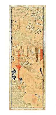 Set of 4 Asian Chinese Style (19th Cent) Vertical Wall Panels Faux Bamboo Frames