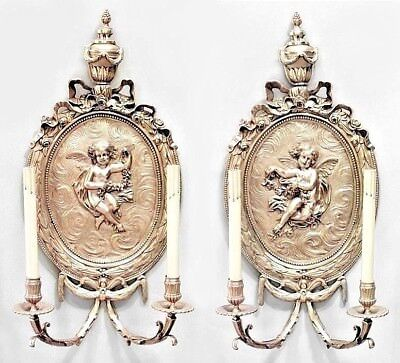 Pair of French Louis XV (19th Cent.) Bronze Dore 2 Arm Wall Sconces